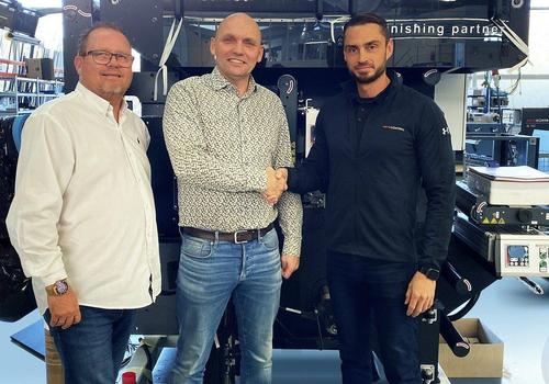 Mads Iversen (left) and Jeppe Mølvadgaard of Nortech-Solutions with Marco Aengenvoort, Managing Director of ROTOCONTROL (far right)